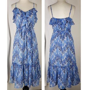 Elle blue bohemian belted ruffled dress